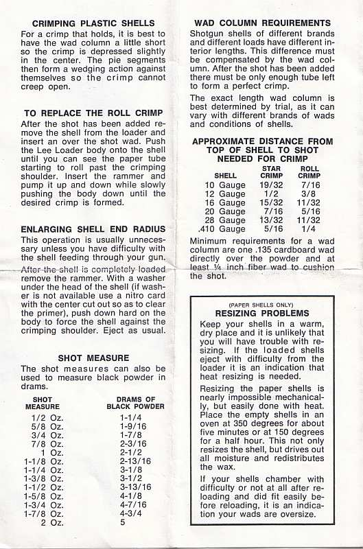 Data for reloading with old school paper wads etc - Graybeard Outdoors