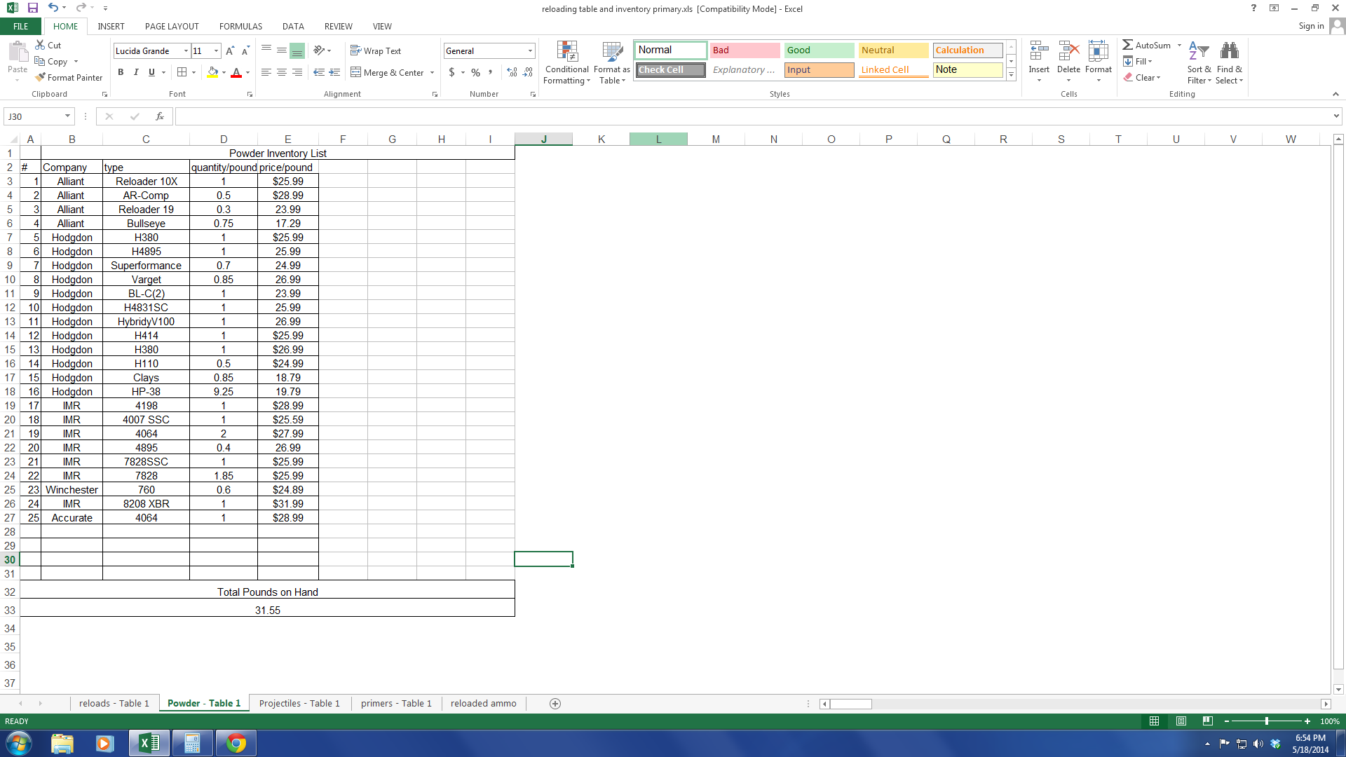 inventory tracking with excel reloading spreadsheet powderpng